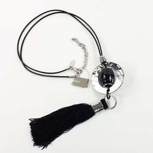 NWT! Chico's Necklace Black Tassel Silver Tone